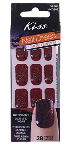 Kiss Nail Dress Halloween Red Spider Web Nail Stickers Limited Edition (Easy Fake Blood)