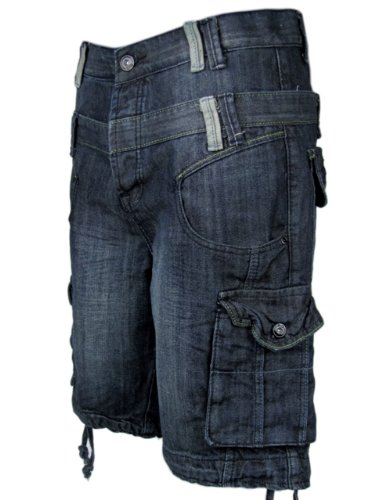 Mens Denim Jean/ Cargo Shorts Vintage Blue Raw Washed S/30