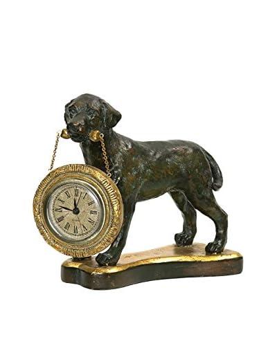 Labrador Retriever Desk Display Clock, Black/Gold
