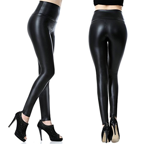 Tagoo Women's High Waist Slim Fit Wet Look Imitation Leather Pants - Meddium - Black (Wet Pants compare prices)