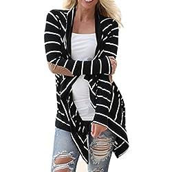 Bluester Women Casual Long Sleeve Striped Cardigans Patchwork Outwear