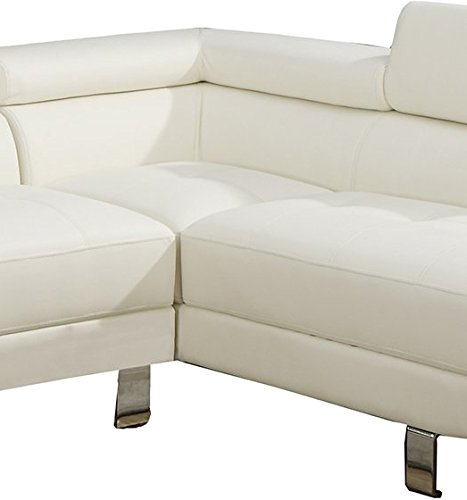 Poundex 2 Pieces Faux Leather Sectional Right Chaise Sofa, White