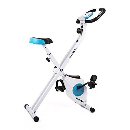 Klarfit Azura Heimtrainer Fahrradtrainer (zusammenklappbar, bis max. 100kg, 8-stufig verstellbarer Widerstand, Tranings-Computer, Handpulsmesser)