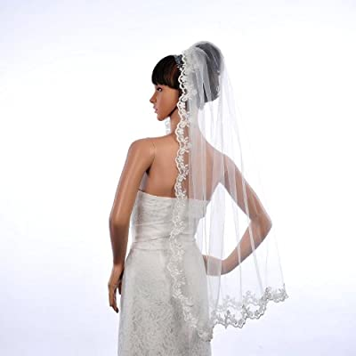 Topwedding Fingertip Length 1 Tier Wedding Veil with Lace Hem and Comb