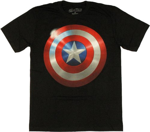 Movie Shield キャプテンアメリカ ソフトタイプ【黒】Tシャツ マーベル アメコミ Captain America Marvel 並行輸入