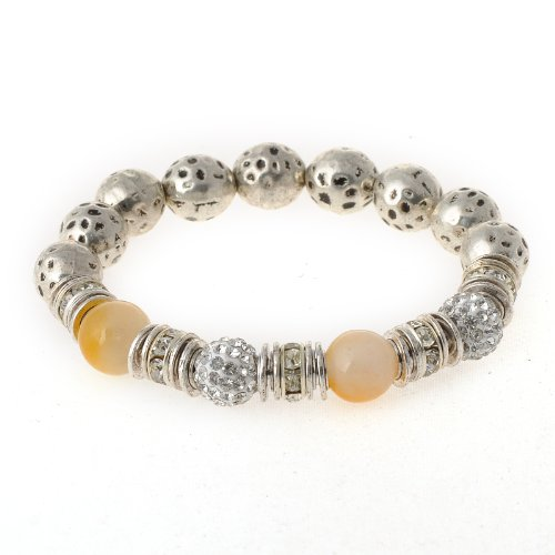 Rivertree Jewellery Silver Crystal Disco Ball With Yellow Jade & Agate Semi Precious Stone Shamballa Bracelet B1823