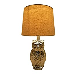Outstanding Household Owl Ceramic Table Lamp with Linen Shade(Silver,15 IN)