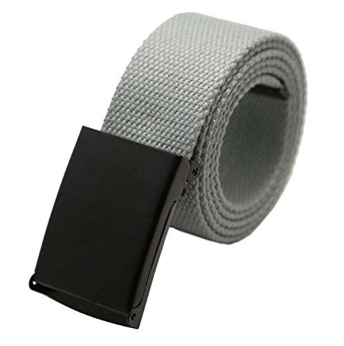 JHLP Men's Black Buckle Pale Grey Tactical Canvas Belt