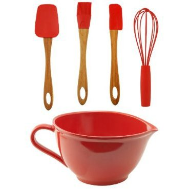C-Red Batter Bowl w/Utensil Set