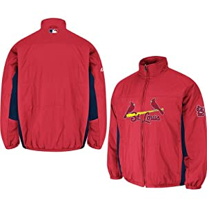 St. Louis Cardinals Red Authentic Double Climate On-Field Jacket by Majestic by Majestic
