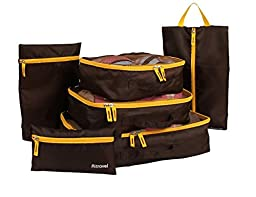 ONOR-Tech 6PC/ Set Colorful Multi-Functional Portable Travel Luggage Suitcase Clothes Underwear Packing Cubes Organizer Storage Bag Pouch (Brown)