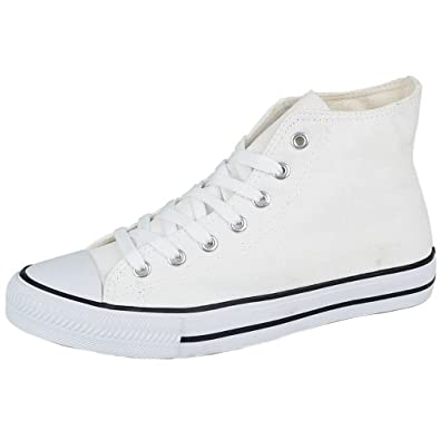 C11-Academy Unisex Childrens Boys Girls Canvas Lace Up Boot Shoes - 34 (UK-1.5) White