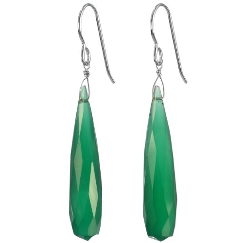 Ashanti Sterling Silver Fine Emerald Green Chalcedony Briolette Natural Gemstone Handmade Earrings
