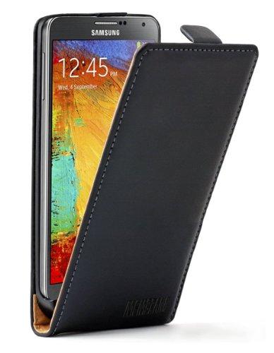 Membrane - Ultra Slim Nera Custodia in Pelle per Samsung Galaxy Note 3 III - Flip Case Cover + 2 Pellicola Protettiva