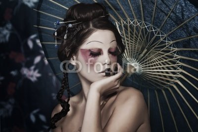 Wallmonkeys Peel and Stick Wall Decals - Portrait of a Beautiful White Girl in Geisha Style - 18