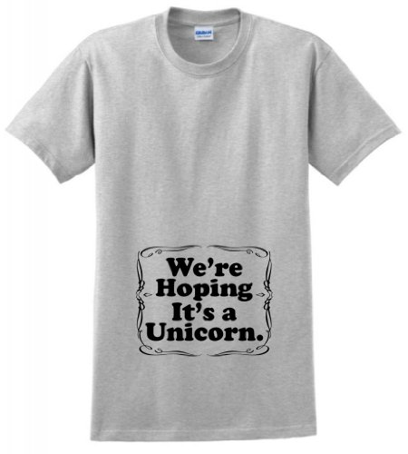 We'Re Hoping It'S A Unicorn Maternity Themed T-Shirt Medium Ash front-978523