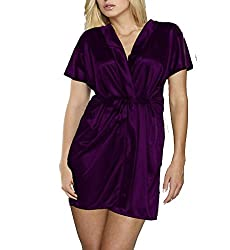 Le Fantasia Women Night Gown Kimono (Purple, Large)