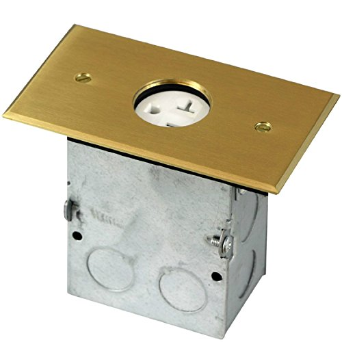 TOPGREENER 705547-C Single Gang Receptacle Floor Box, With 20A Tamper Resistant Single Receptacle - UL Listed, Brass