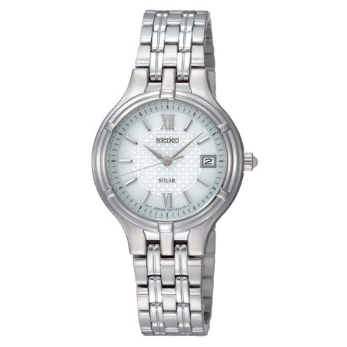 Seiko Ladies Quartz Analogue Watch SUT015P1 with Stainless Steel Solar Bracelet and White Dial
