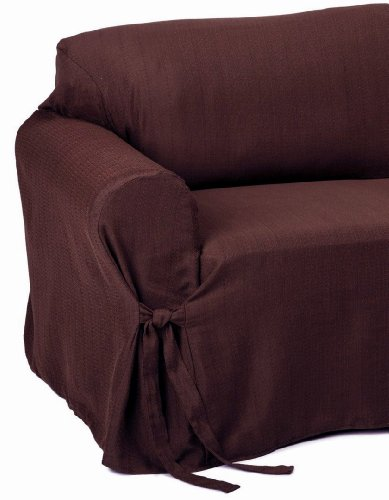 2-Piece Jacquard Stripe Fabric Solid Chocolate Brown Couch/Sofa + Loveseat Cover Slipcover Set front-850519