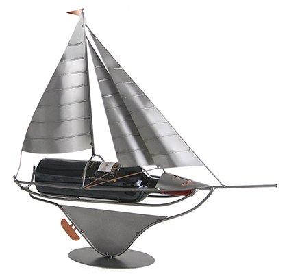Sailboat Wine Bottle Holder, Display or Caddy from H&K Steel Sculpture - 6220-LI