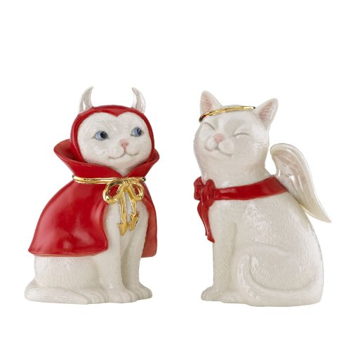 Cat Angel & Devil Salt & Pepper Shaker Set by Lenox