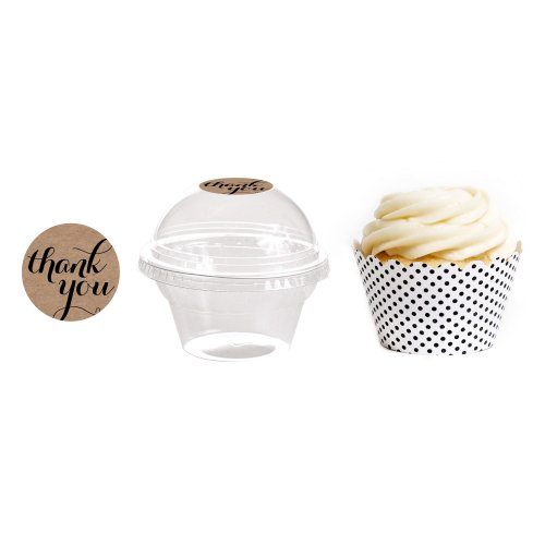 Dress My Cupcake 24-Pack Kraft Dessert Table Label Kit, Includes Favor Dome Containers, Thank You! Label and Black and White Polka Dot Wrapper (Dessert Table Containers compare prices)