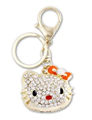 Young & Forever Beautiful 18K Gold Plated Bling Bling Cute Hello Kitty Bag Charm Key Ring & Key Chain Orange By...