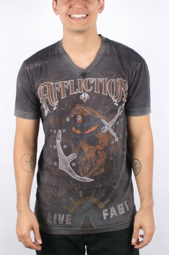 Affliction - Mens Power V-Neck T-Shirt In Black Vapor Wash, Size: Small, Color: Black Vapor Wash