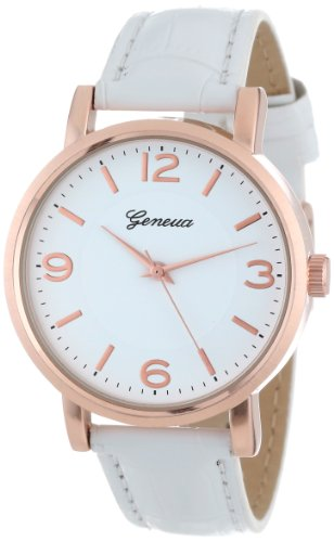 Geneva Women's 2363-rosegold-GEN  Swarovski Crystal-Accented Watch with Leather Band
