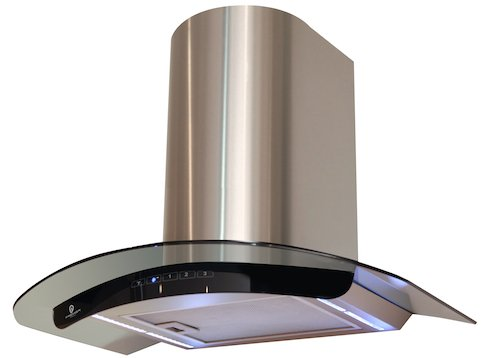 Premier Range Truly Curved 70cm Black Glass Cooker Hood H76.7S - FREE Vent Kit