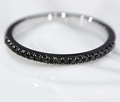 VogueGem Micro Pave 0.25ct Black Diamond 14K Black Gold Wedding Band Half Eternity Ring