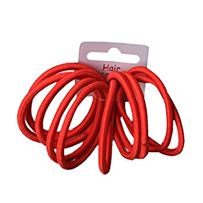 Set of 10 Red Thick Snag Free Endless Hair Elastics Bobbles Hair Bands