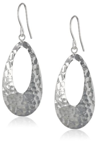 Sterling Silver Hammered Oval Dangle Earrings