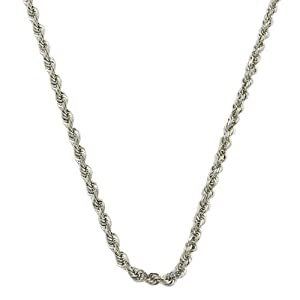 14 Karat White Gold Diamond-Cut Rope Chain (1.4 mm Thick, 18 inch)