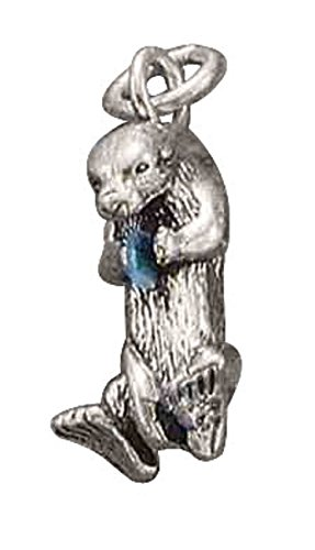 Sterling Silver 3D Sea Otter Simulated Opal Animal Ocean Nautical Dangle Charm Bead For Bead Charm Bracelet