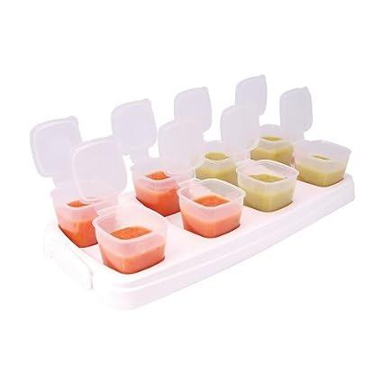 MTS - Vassoio con contenitori cubici porta pappe dei bambini, per il congelatore, senza BPA