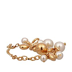 Mansiyaorange Designer Funky Indo Western Stylish Casual Party Wear Golden Hand Charm And Beads Bracelet for for Girls and Women