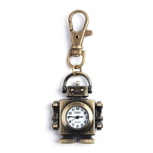 Yesurprise Cool Bronze Tone Robot Pendant Key Clock Pocket Quartz Watch Kids front-625903
