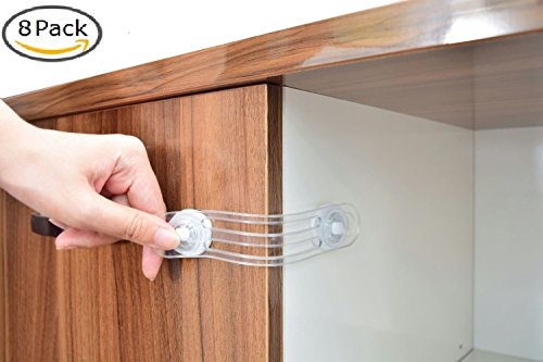 Good Safe U0026 Secure Baby Safety Latches, 8 Pack Clear Adhesive Child Proof Locks,  Cabinet Door, Kitchen Appliance, Fridge, Toilet, Microwave, Dresser Drawer