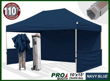 New Professional 10X15 Pop Up Canopy Instant Tent Event Tent Party Gazebo Aluminum Frame Bonus Roller Bag + Weight Bags (Navy Blue) front-899850