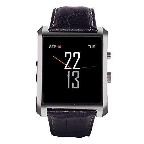 """Wintimes Deluxe Edition Calfskin Belt Waterproof 1.5"""" 1.3MP Bluetooth 4.0 Smart Watch DM08 for Anti-Lost Calorie Sleep Monitoring Sedentary Reminder Management Sync Information Telephone-Silver"""