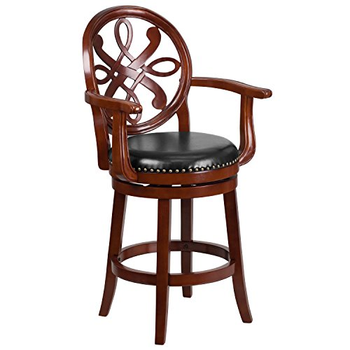 flash-furniture-26-high-cherry-wood-counter-height-stool-with-arms-black-leather-swivel-seat
