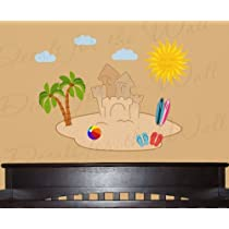 Beach Island Surfing Sand Castle Palm Trees Summer Fun - Girls Room Kids Baby Playroom Nursery