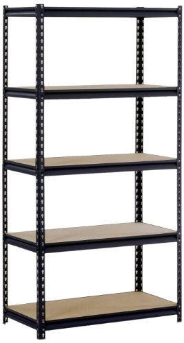 Sandusky/Edsal UR185P/L-BLK Black Steel Heavy Duty 5-Shelf Shelving Unit, 4000lbs Capacity, 36
