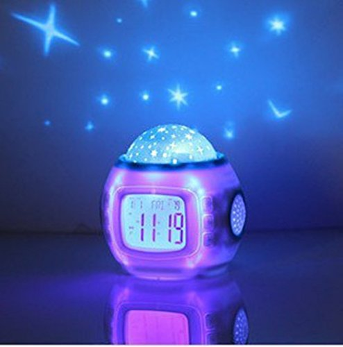 Music Starry Sky Projection Color Change Star Sky Digital Projection Alarm Clock BedRoom Sky Star Night Light Projector (Rainbow Bright Fancy Dress)