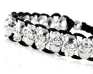Amazon.com: Chrome Skull Bracelet, Adjustable for Any Size 5 Inches and Up. Very Cool, Trendy Bracelet for Men, Women, Teens, Boys and Girls In Gift Box: Jewelry