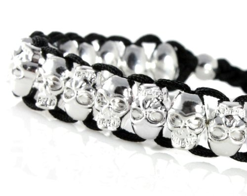 Chrome Skull Bracelet, Adjustable for Any Size 5 Inches and Up. Very Cool, Trendy Bracelet for Men, Women, Teens, Boys and Girls In Gift Box