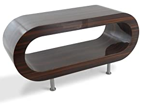 Medium retro high gloss stripey walnut 90cm hoop coffee for Hoop coffee table