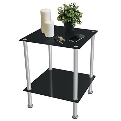 Beistelltisch-40x40xH50cm-Edelstahl-Glas-mit-2-Ebenen-Schwarz-Glastisch-Couchtisch-Nachttisch-Wohnzimmertisch-Kaffeetisch-Loungetisch